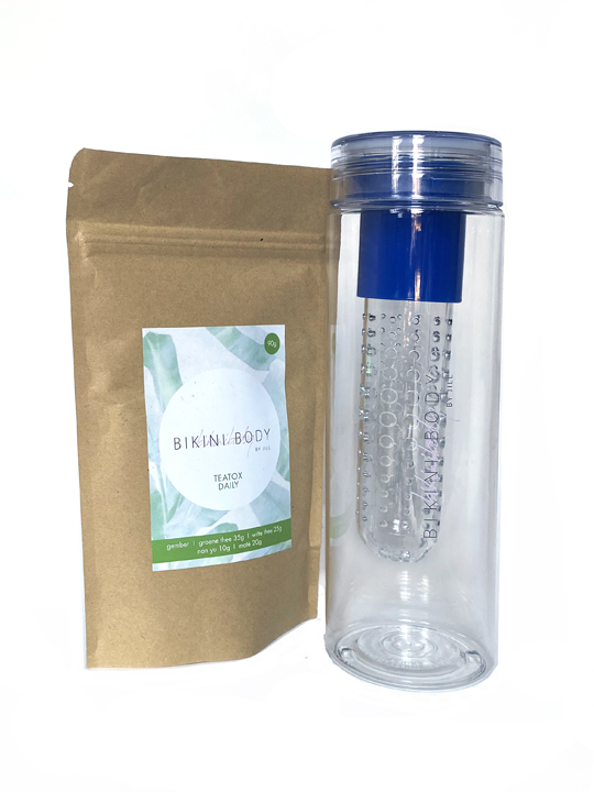Bikinibody drinking bottle with fruit infuser for Teatox. Blue