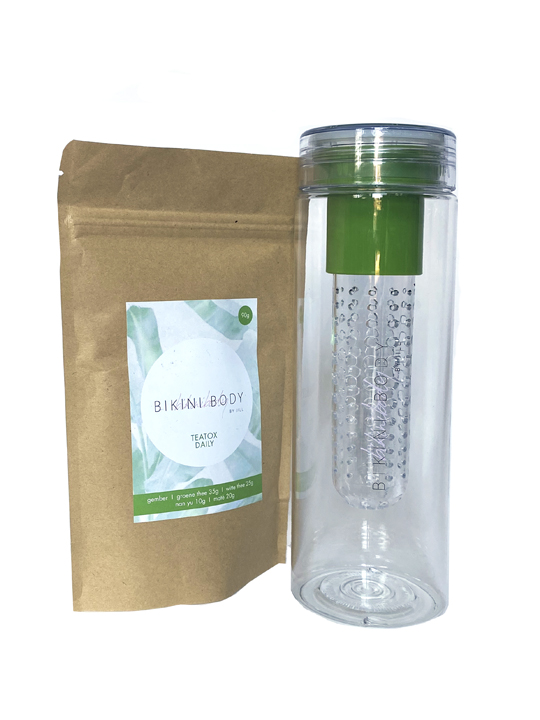 Bikinibody drinking bottle with fruit infuser for Teatox. Green