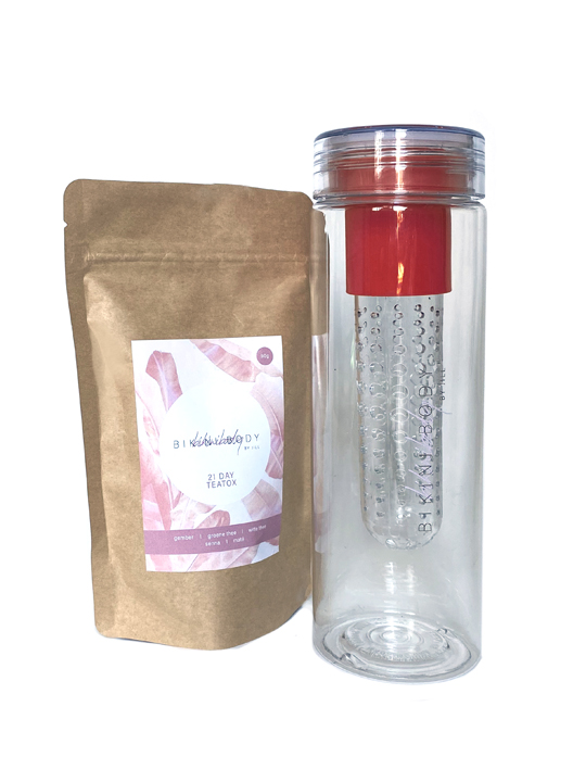 Bikinibody drinking bottle with fruit infuser for Teatox. Red