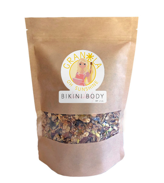 Bikinibody sunshine granola low in calories, healthy snack in between meals